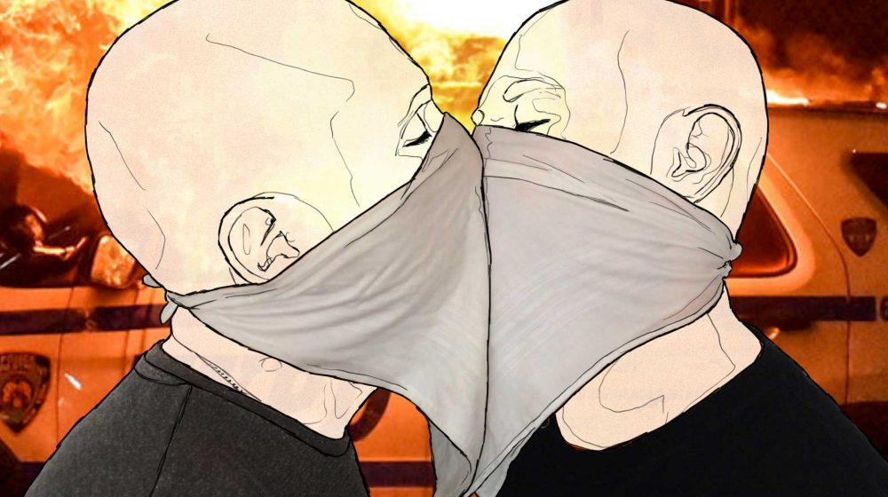 A contemporary, comic-book style illustration of two men with bald heads kissing while wearing grey neckerchiefs. In the background the sky is an apocalyptic orange, yellow and white.