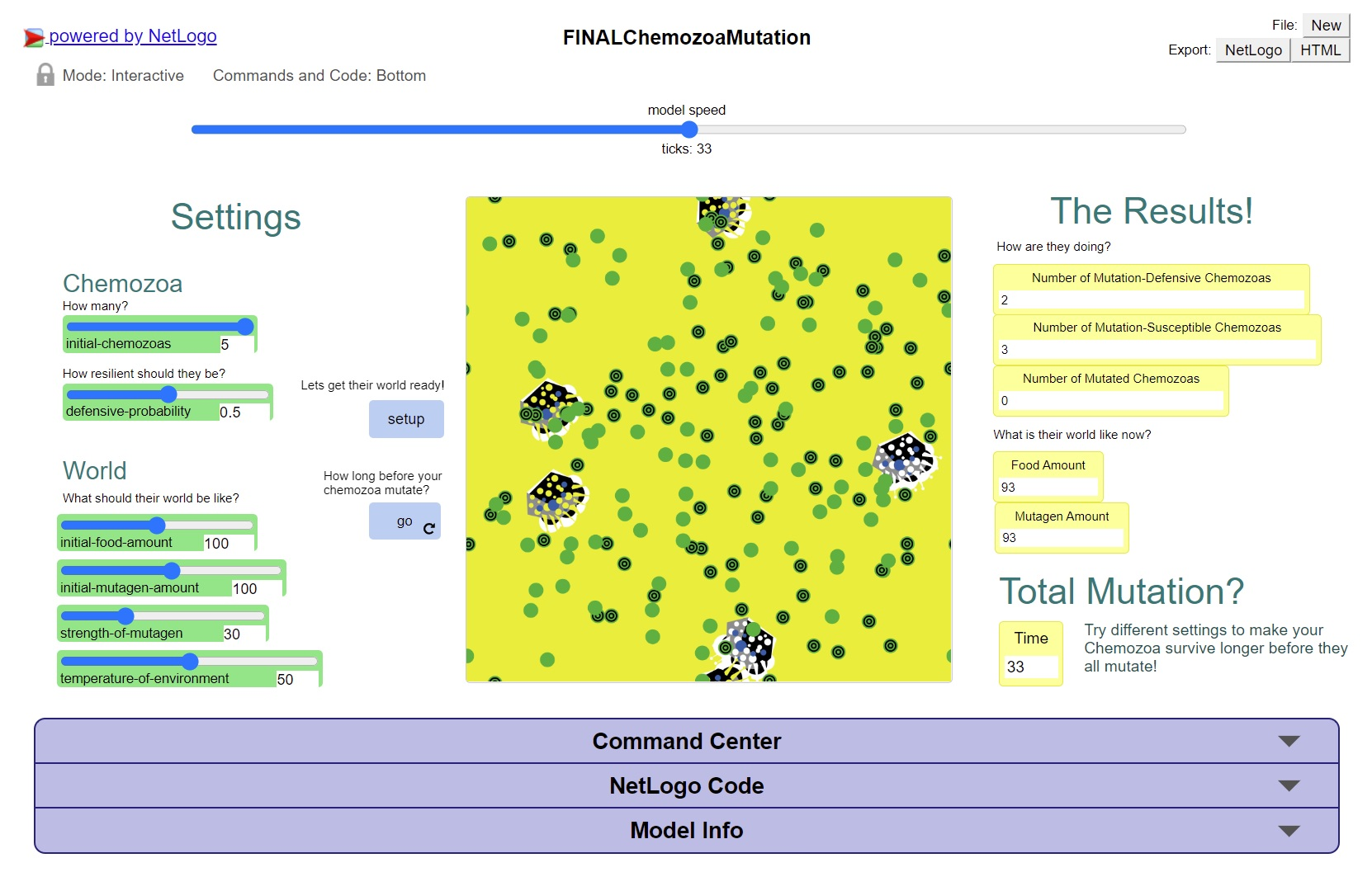 A scientific panel with green and yellow sections, with options to change the environment of Chemozoa. In the centre is a picture of the Chemozoa model in yellow and green.