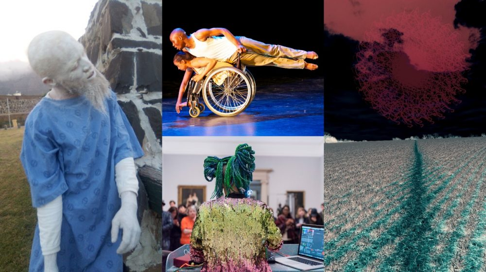 Five images by resident artists form a composite - on the far left, a man painted grey with a beard wears a blue smock. Top centre a man glides horizontally above a woman sat leaning forward in a wheelchair in a dance pose. On the top right a deepinkish red swirl of absract light blends iwht black background. Bottom right a ploughed field has small plants growing in rows, path of green plants runs through the centre. Bottom centre a person with bunched up green hair and rainbow sparkly jacket stands before an audience in a gallery, a laptop open next to them.